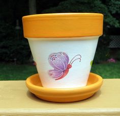 Colorful Butterfly Painted Flower Pot 4 by EllensClayCreations