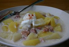 Savanyú krumplileves Gazpacho, Oatmeal, Pudding, Breakfast, Desserts, Food, The Oatmeal, Morning Coffee, Tailgate Desserts