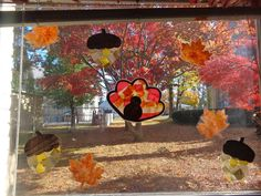 Terrific Preschool Years: Turkeys and more! Fall Window Decorations, Yellow And Brown, Preschool, Turkey, Turkey Country, Kindergarten, Preschools