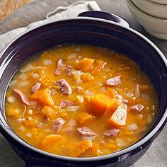 Ham and Sweet Potato Soup ~ 20 minutes of prep is all you need for a batch of bubbling sweet potato soup!