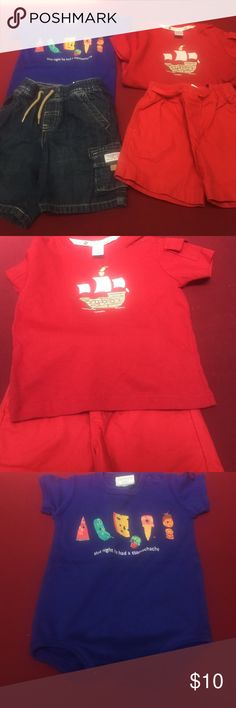 Janie and Jack baby boy clothes 2 pair of shorts- red cotton with front tie and cargo jean shorts. Red short sleeve top is NWT  and has pirate boat on it. The other shirt is from Carters. All excellent or new condition! Janie and Jack Matching Sets