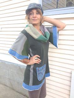 Eco Tunic Shirt size S/M cowl neck  Upcycled Clothing by zasra, $95.00