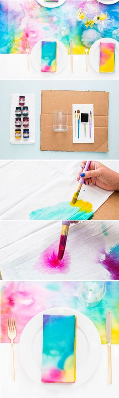 How to make easy watercolor fabric that won't wash out - tutorial by Brit & Co (Diy Crafts To Make) Watercolor Fabric, Easy Watercolor, Fabric Painting, Fabric Art, Fabric Crafts, Fun Crafts, Diy And Crafts, Art Projects, Sewing Projects