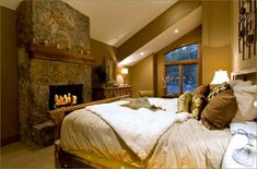 cabin inspired master bedroom | Cabin/Mountain Theme Room Inspirations - Fancy House Road