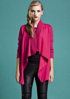 Red Long Sleeve Pockets Asymmetrical Knit Sweater
