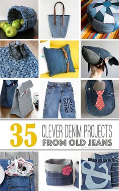 35 Clever Projects from OLD DENIM JEANS. I love the bookmark, ruffled pillow, lunch bags, tote and kids aprons.