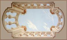 Art murals and trompe l'oeil paintings Sky Ceiling, Ceiling Decor, Ceiling Painting, Mural Painting, Interior Design Presentation, Perspective Art, Ceiling Treatments, Bedroom Murals, Tile Murals