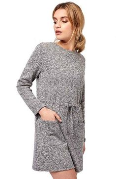 Topshop Long Sleeve Drawstring Dress (Petite) available at #Nordstrom