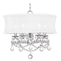 livex lighting drum pendant light with beige cream shades in brushed nickel finish