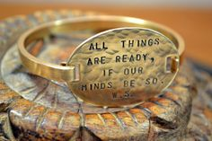"""William Shakespeare bracelet  """"All things are ready, if our minds be so."""" Henry V Act 4 Scene 3"""