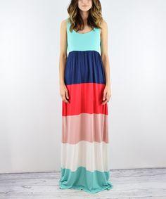 Mint & Navy Color Block Maxi Dress #zulily #zulilyfinds