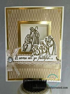 Oh, Come All Ye Faithful with Winter Wonderland vellum, free Tutorial PDF Christmas Paper Crafts, Homemade Christmas Cards, Stampin Up Christmas, Christmas Cards To Make, Christmas Settings, Christmas Nativity, Handmade Christmas, Homemade Cards, Stampinup Christmas Cards