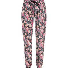 Markus Lupfer English Rose Silk Jogging Pants (€325) ❤ liked on Polyvore featuring pants, bottoms, jeans, leggings, grey jogger pants, grey pants, light weight pants, stretch waist pants e pink pants