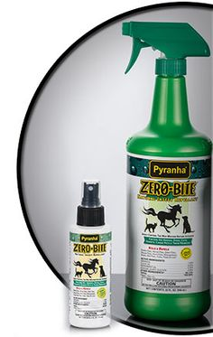 Pyranha's Zero-Bite natural insect spray contains bug-fighting ingredients such as geraniol, clove, and peppermint--safe and nontoxic alternatives to traditional fly sprays. The water-based formula is not oily or greasy and repels stable flies, house flies, fleas, mosquitoes and other insects. Also safe for use on dogs, cats and other small animals.