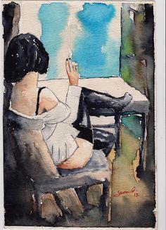 ink, figure, woman, watercolor