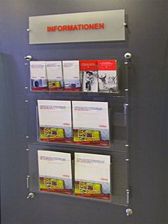 Wall Mounted & Cable Suspended Acrylic Leaflets - Literature Displays