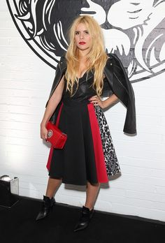 #VersusCalling front row - @palomafaith was perfection in a red, print, and black @versace_official skirt, leather jacket and #VersusVersace crop top. #VersusCelebrities