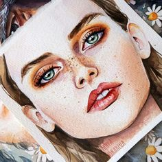 pin me at jghukk Watercolor Face, Watercolor Portraits, Watercolor Illustration, Watercolor Paintings, Gcse Art, Art Drawings, Art Sketches, Portrait Art, Art World