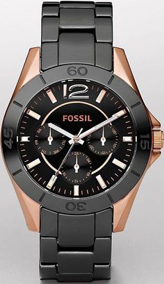 Fossil Women's CE1007 Black Ceramic and Gold Bracelet Black Analog Dial Multifunction Watch