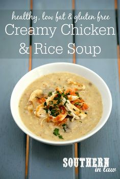 Healthy Creamy Chicken and Rice Soup Recipe healthy, low fat, gluten free, clean eating friendly Creamy Chicken Rice Soup, Chicken And Brown Rice, Clean Eating Soup, Clean Eating Chicken, Healthy Soup Recipes, Alkaline Recipes, Soup And Salad, Gluten Free, Shredded Chicken