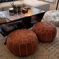 Our poufs are hand embroidered with silk thread. It can be a footstool or used as extra seating. Moroccan Ottoman pouf is made entirely by hand by highly skilled leather artisans in Marrakech, Morocco. Leather Poof, Leather Pouf Ottoman, Moroccan Leather Pouf, Moroccan Pouf, Real Leather, Moroccan Tiles, Moroccan Lanterns, Turkish Tiles, Portuguese Tiles