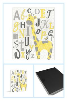 """Pied Piper Creative Learn The Alphabet With George The Giraffe 8"""" X 10"""" Canvas Wall Art Multi - Add some charm to your little one's room with the Pied Piper Creative Learn the Alphabet with George the Giraffe Canvas Wall Art. In shades of grey and yellow, sweet George the giraffe is surrounded by all the letters of the alphabet. Comes ready to hang. - living room decor Alphabet Writing, Learning The Alphabet, Alphabet Activities, Toddler Preschool, Preschool Activities, Letter Recognition Games, Daycare Spaces, Letter A Crafts, Play To Learn"""