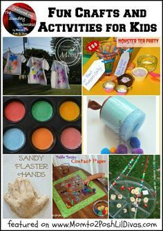 fun crafts and activities for kids: Sharpie T-Shirts, Monster Tea Party, Pool Noodle Pom pom Shooters, Easy Bird Feeder, Sand Handprint Keepsake, Bathtub Paints, Contact Paper Art