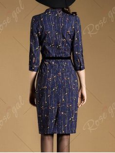 3/4 Sleeve Bird Print Knee Length Dress
