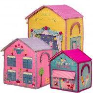 Rice Spielzeugkörbe City in gelb-rosa-blau von Rice in 3 Größen