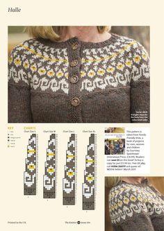 The Knitter 106 2017 Fair Isle Knitting Patterns, Fair Isle Pattern, Knitting Charts, Knitting Designs, Knitting Stitches, Knit Patterns, Fair Isle Chart, Knit Cardigan Pattern, Icelandic Sweaters
