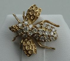 Dazzling 14k Yellow Gold Bee Pin With Fine by rubylanejewelers
