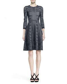 Mixed-Print Full-Skirt Dress by Alexander McQueen at Neiman Marcus.