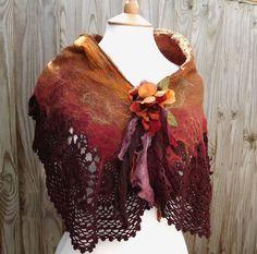 Autumn Nuno Felt Flower Shawl Gypsy shawl Fairy Shawl by folkowl