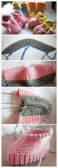 Knit baby shoes - learnt to do these decades ago in Germany! but never wrote down the pattern : alternate to ribbed seam from insole to top, stocking stick and then knit toether with stickes from lower rows as piping border Knitting For Kids, Knitting Socks, Loom Knitting, Knitting Stitches, Knitting Projects, Baby Knitting, Knitting Patterns, Crochet Patterns, Knitted Baby