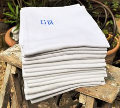 Vintage French dish towels or bathroom towels in a very nice white cotton with a CM blue monogramm dish cloth tea towel
