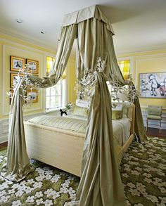Beautifully Decorated Bedrooms :: Enchanting Girl's Bedroom. Yellow & green. Traditional Home® Canopy Over Bed, Deck Canopy, Window Canopy, Canopy Curtains, Canopy Bedroom, Tree Canopy, Canopy Outdoor, Girls Canopy, Bed Tent