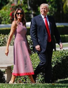 President Donald Trump and first lady Melania Trump arrive for Easter services at Episcopal Church of Bethesda-by-the-Sea in Palm Beach, Fla. Trump Melania, Donald And Melania Trump, First Lady Melania Trump, Donald Trump, Alaia Dress, Malania Trump, First Ladies, Presidents, Couture