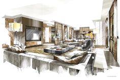 電腦版圖文詳情 Perspective Sketch, Interior Design Sketches, Yacht Interior, Interior Styling, How To Draw Hands, Table Settings, Living Room, Furniture, Product Design