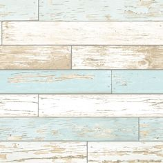 I Love Wallpaper™ Rustic Wooden Plank Wallpaper Natural / White / Teal…