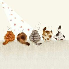 Illustration Artists, Cute Illustration, Illustrations, Inspiration Art, Art Inspo, Baby Clip Art, Cat Wallpaper, Arte Pop, Cat Drawing