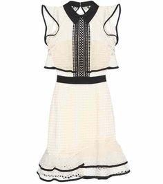 Contrast Flounced lace mini dress | Self-Portrait