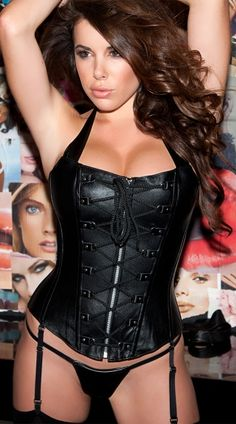 Exclusive Faux Leather Corset and G-String Set, Black Leather Corset, Faux Leather Bustier Top Black Leather Corset, Leather Bustier, Leather Lingerie, Black Lingerie, Leather And Lace, Women Lingerie, Classic Leather, Leather Underwear, Hot Lingerie