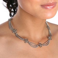 Rapt In Maille | Handmade Chainmaille Jewelry by Melissa Banks | Stainless Steel | Chicago — SLINKY Rosette Necklace With Draping Chain