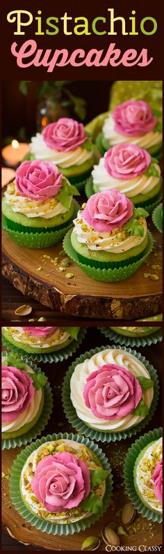 Pistachio Cupcakes - Cooking Classy individual roses on cupcakes Köstliche Desserts, Delicious Desserts, Dessert Recipes, Yummy Cupcakes, Cupcake Cookies, Tea Cupcakes, Pretty Cupcakes, Baking Cookies, Pistachio Cupcakes
