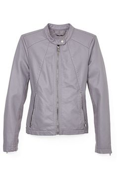A streamlined gray jacket looks great with trousers.