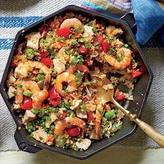 Scrumptious Shrimp Recipes   Skillet Rice with Shrimp and Chicken   MyRecipes.com