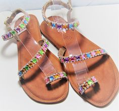Colourful for trendy fashion. All sizes made on order. Tan Leather Sandals, Trendy Fashion, Handmade, Shoes, Color, Hand Made, Zapatos, Shoes Outlet, Colour