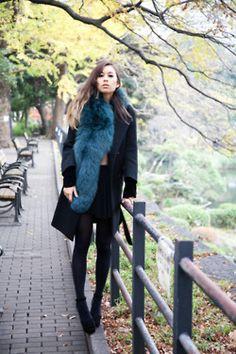 Fashiontoast - that teal blue fur collar