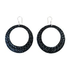 New style - large embossed leather party hoops in black, CE120BL, from Anna Sukardi.