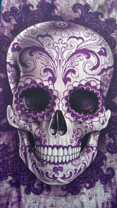 Purple Calavera Skull art poster for Dia de los Muertos Sugar Skull Tattoos, Sugar Skull Art, Sugar Skulls, Sugar Skull Meaning, Candy Skulls, La Muerte Tattoo, Diy Poster, Tattoo Crane, Los Muertos Tattoo